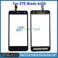 """Top quality 5.0 """"para zte blade a475 t610 sensor digitador da tela de toque do painel de vidro frontal negro cor frete grátis"""