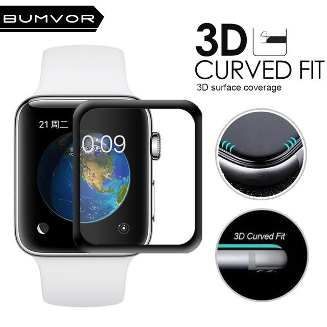 BUMVOR 3D Full Cover Tempered Glass For Apple Watch 42mm Screen Protector 9H Coverage for iWatch Series 3 and Series 2 1 Glass