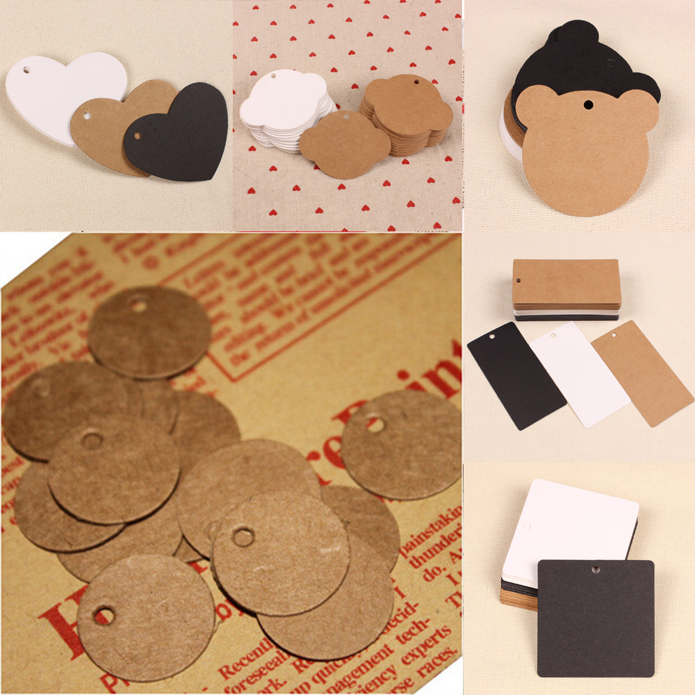 50Pcs Kraft Paper Tags Brown Lace Scallop Head Label Luggage Wedding Note DIY Blank Price Name Hang Tag Kraft Gift Crafts