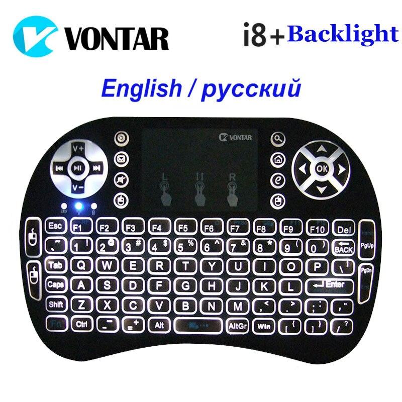 VONTAR Retroilluminazione Retroilluminato i8 + Inglese Russo Mini Tastiera Senza Fili 2.4 GHz Air Mouse Gaming Touchpad per Android TV BOX Laptop