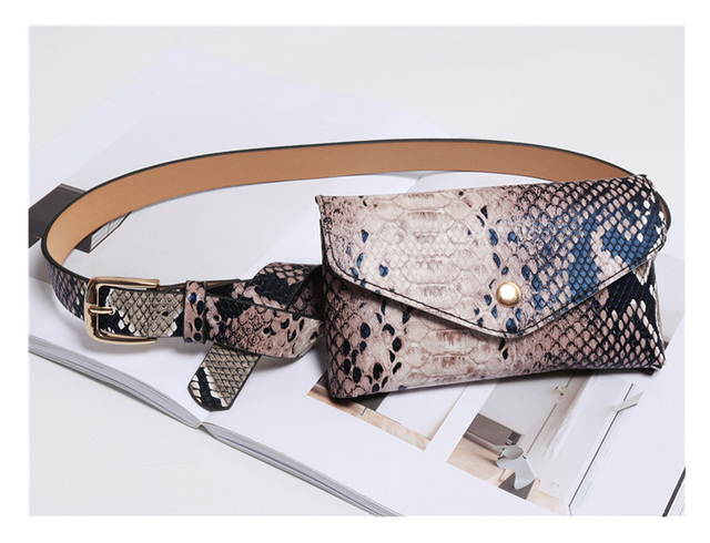 3d3880913f4 Women Fanny Pack Vintage Serpentine Waist Pack High Quality PU Leather  Phone Pouch Fashion Snake Skin Waist Bag Messenger Bags