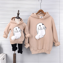 Mother and Daughter Clothes Winter Children Wear Velvet Hoodie Fashion Matching  Family Outfits