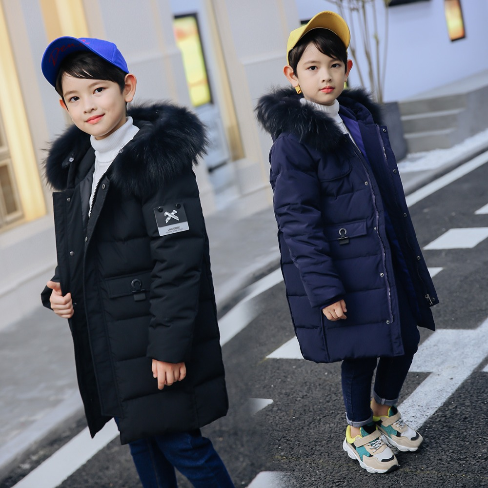 Winter Thick Warm Real Duck Down Coats Fur Hooded Long Little Boys Down Coats Boys Jackets Kids Outwear For Winter WUA890302 buenos ninos thick winter children jackets girls boys coats hooded raccoon fur collar kids outerwear duck down padded snowsuit