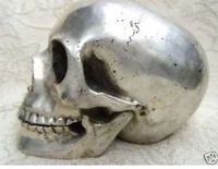 Chinese Old Collectable Tibet Silver Skull Framework Statue Wholesale Factory Arts Outlets
