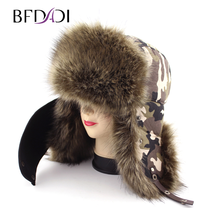 BFDADI 2018 Warm Winter Men Aviator Hats Russian Hat Sport Outdoor Earflaps Bomber Caps+Masks For Men 2 colors Free Shipping