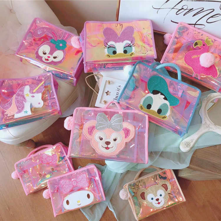 fb273a4098e Cartoon Duffy Bear Stellalou Unicorn Flamingo Hello Kitty My Melody Daisy  Pvc Cosmetic Bags Storage Mesh