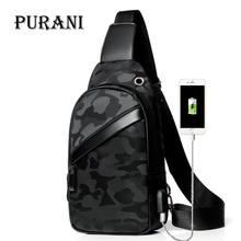 NEW Black Chest Pack Men Casual Shoulder Crossbody Bag USB C