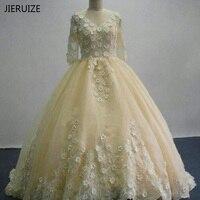 JIERUIZE Champagne Dentelle Perlée Demi Manches Robes De Mariée 2017 robe de Bal De Luxe Robes De Mariée robes de mariée Plus La taille