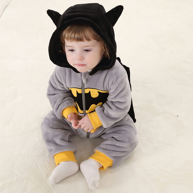 Spider-Man For Batman Kigurumi baby Kids Cartoon Animal Cosplay Costume Warm Soft Flannel Fancy Onesie Cute Pajama Body Suit image
