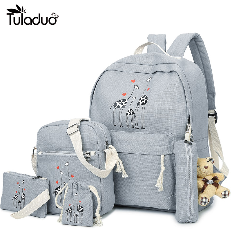 6Pcs/Sets Backpacks Cartoon Printing School Girls Backpack Cute Canvas Schoolbags for Teenage Women Students Bag Children Large vintage cute owl backpack women cartoon school bags for teenage girls canvas women backpack brands design travel bag mochila sac