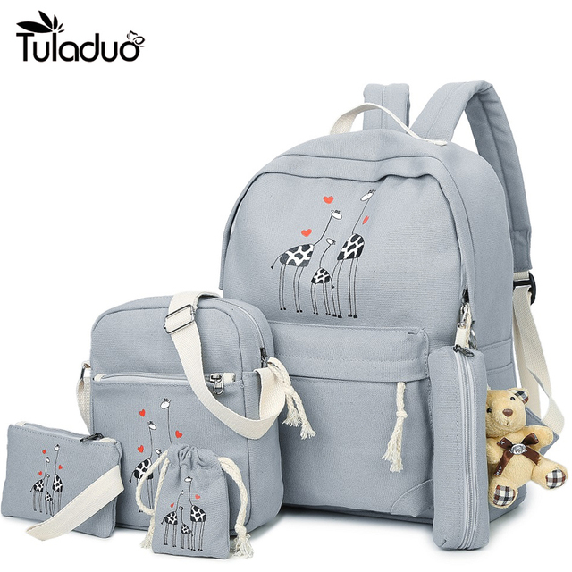 8189abbdf11c 6Pcs Sets Backpacks Cartoon Printing School Girls Backpack Cute Canvas  Schoolbags for Teenage Women Students Bag Children Large