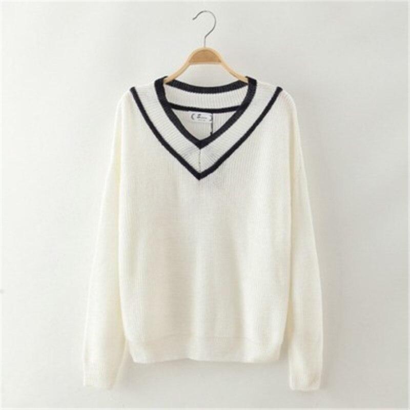 2017 mujeres del Otoño suéter Con Cuello En V manga larga Ocio camisa suelta de