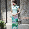 Summer style Chinese Tang suit Evening Dress Cheongsam Top quality silk Party Dress short sleeve chi-pao vestidos Size:S-2XL