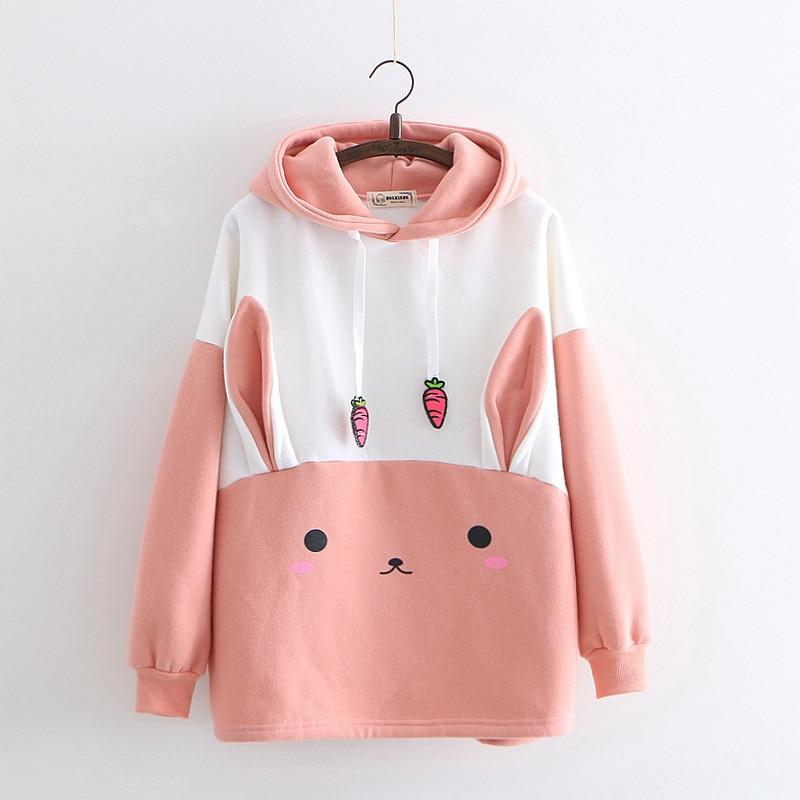 Cartoon Sweet Rabbit Carrot Stamp With Cap And Pile To Keep Warm Girl Hoodie Sweatshirts Hoodies