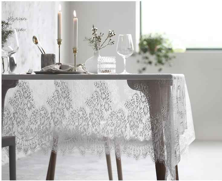 Rural Lace Rectangular Black White Tablecloth Coffee Table Desk Wedding Garden Protective Covers Table Cloth