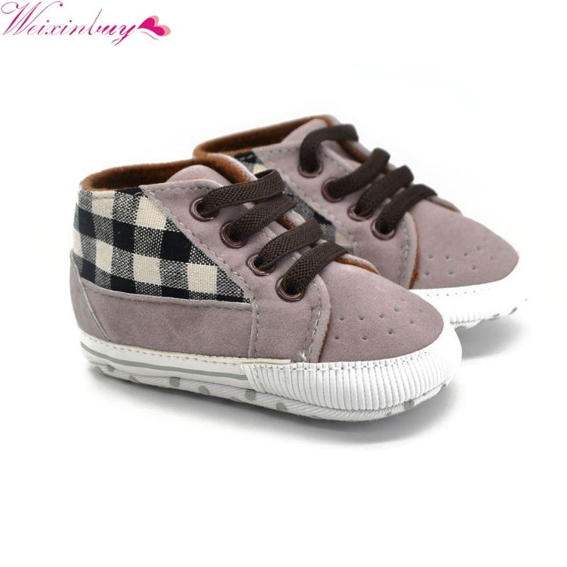 All Season Baby Boy PU Plaid Shoes Casual Sneaker Soft ...