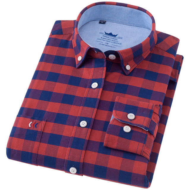 35681047d97 Long Sleeve 100% cotton oxford Dress Shirt Men Social Mens plaid casual  Shirt Male Striped work Shirts solid color plus size 5X-in Casual Shirts  from ...