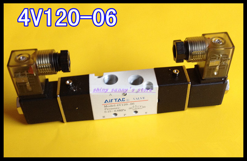 1Pcs 4V120-06 AC220V 5Ports 2Position Double Solenoid Pneumatic Air Valve 1/8 BSPT brand new high quality 1 4 ac 220v 3way 2position pneumatic electric solenoid valve npt air aluminum