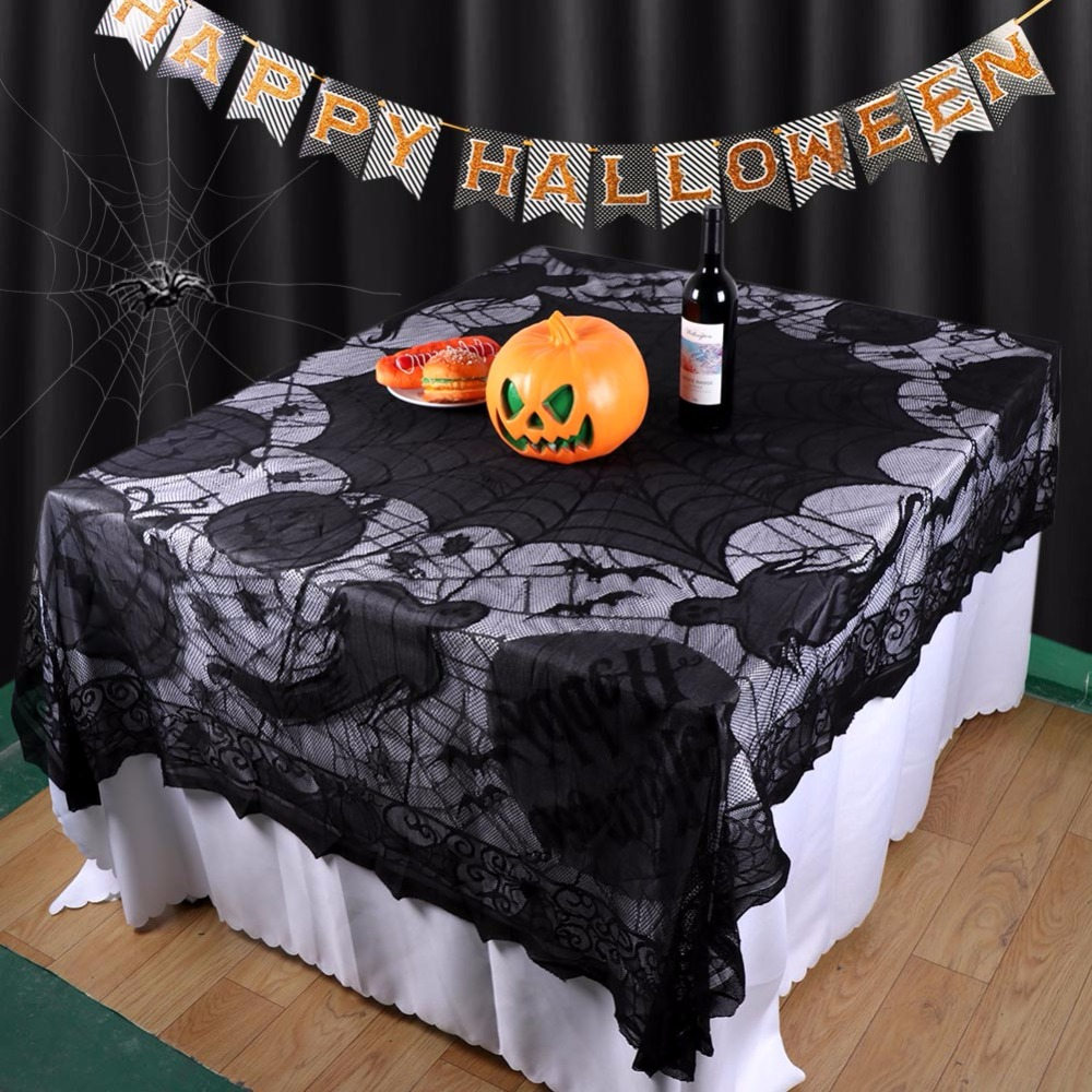 Ourwarm Decoration 60 80in Black Lace Spider Web Pumpkin Table Cloth