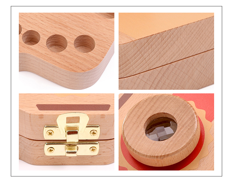Купить с кэшбэком Wooden Milk Teeth Box For Kids Camera Shape Tooth Storage Box For Newborn Creative Baby Girl Boy Tooth Organizer Boxes Z749