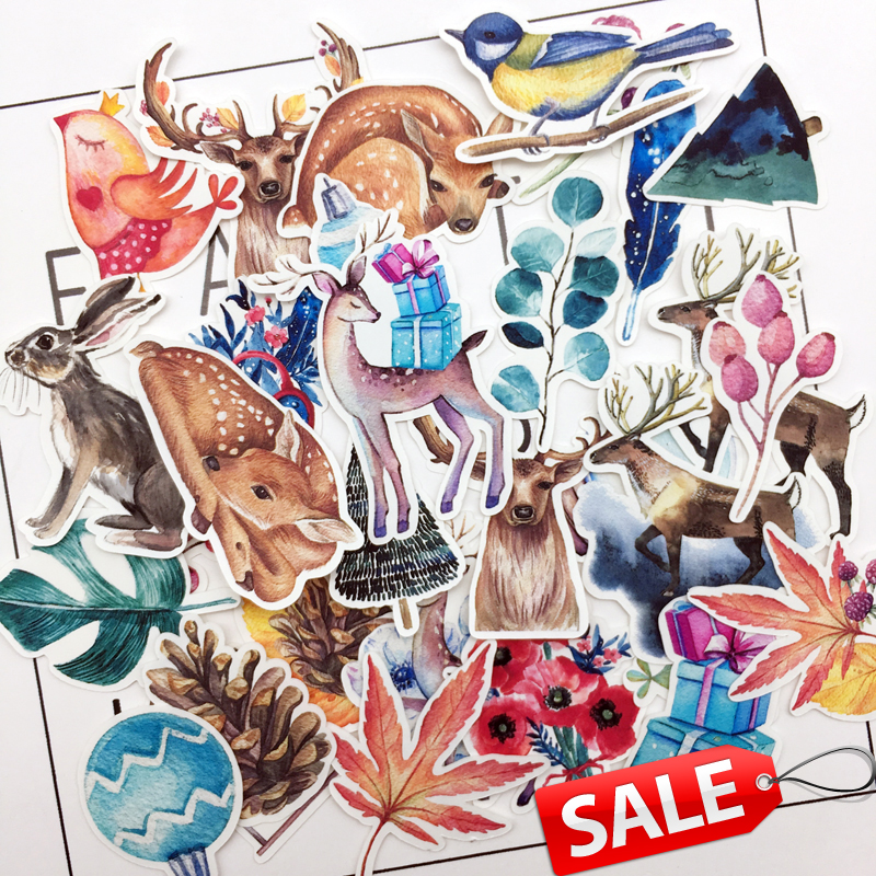 38pcs Hand Drawing Mysterious Fawn David's Deer Stickers Scrapbooking/bullet Journal Stickers Magic Adesivo Stationery Naklejki