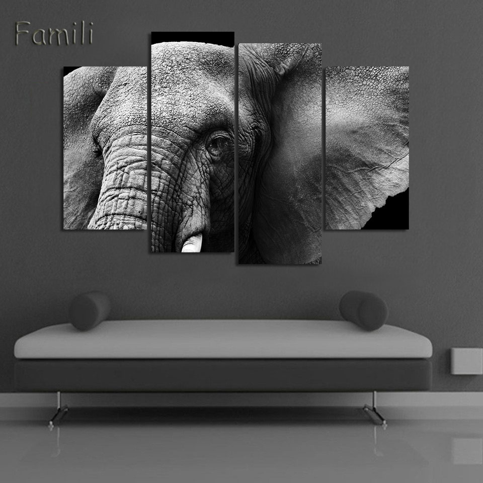 4panel animal art children living room decoration african elephants canvas printed painting wall hanging home decor unframed in painting calligraphy from