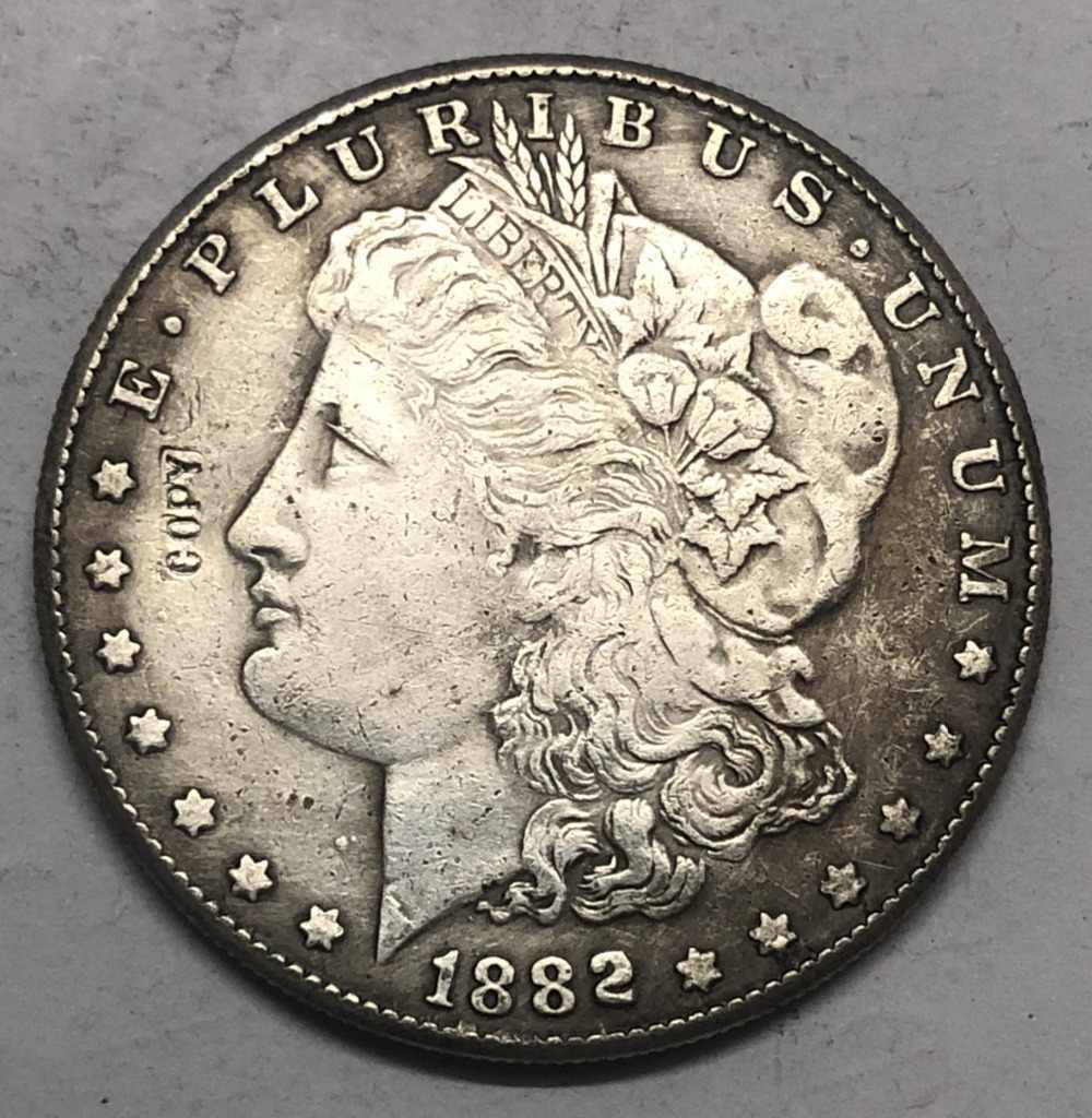 1882 (P.S.O) Amerika Birleşik Devletleri Morgan Bir Dolar Gümüş Kaplama Kopya Para (herhangi bir tek nane Seçin)