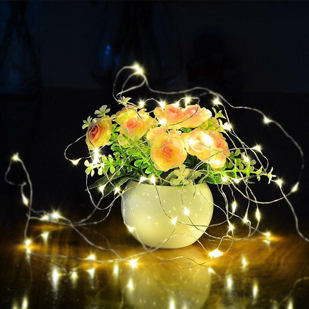10pcs 2M 20Led String Lights CR2032 Button Battery Operated Colorful LED String Cooper Wire Fairy Light Outdoor Decoration Lamp