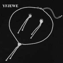 New Wedding Jewellery Set Austrian Crystal Bridal Jewelry Sets For Women Long Tassel Statement Necklace/Earrings Set N187