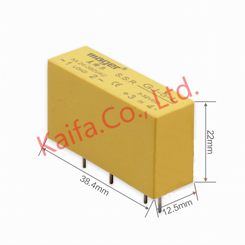 цена на Mager 5Pcs/lots Mini contact pin SSR 5A Solid State Relay DC-AC input 3-32VDC load 24-380VAC GJ-5-L