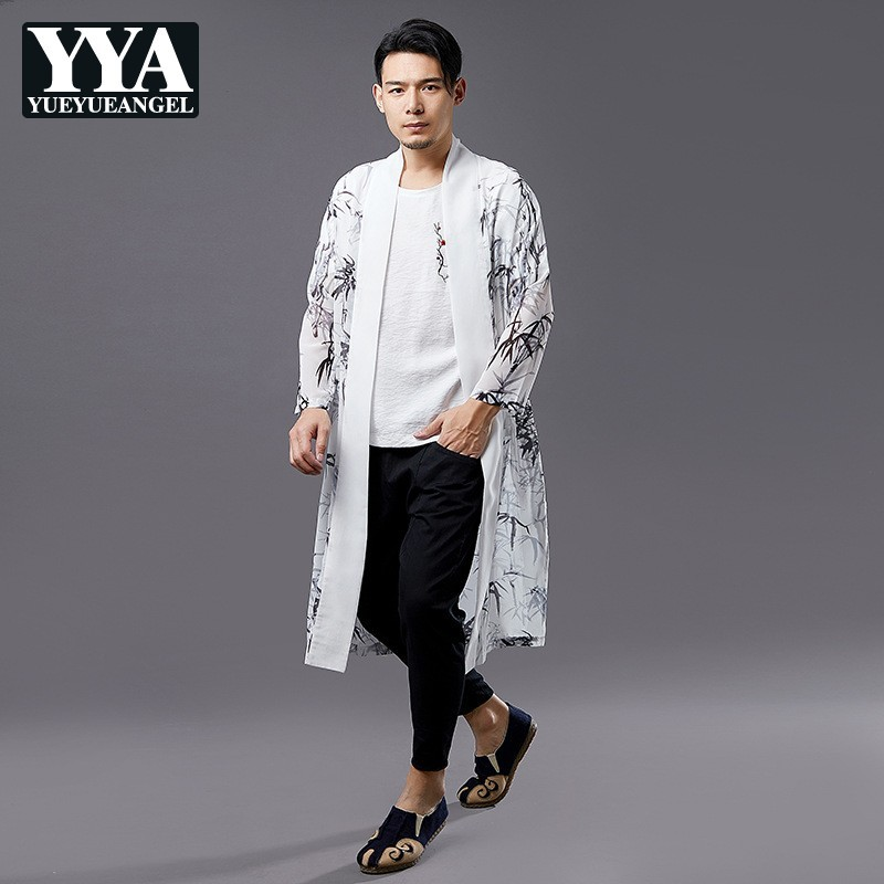 Summer Chinese Style Fashion Bamboo Leaf Printing Mens Long Chiffon Shirts Long Sleeve Open Stitch Sun Protection Shirt Coats