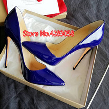 Free shipping fashion women Pumps lady blue patent leather point toe high heels shoes thin heeled 12cm 10cm 8cm Stiletto цена