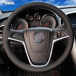ساطع القمح اليد مخيط أسود جلد سيارة غطاء عجلة القيادة ل بويك Excelle XT GT Encore أوبل Mokka