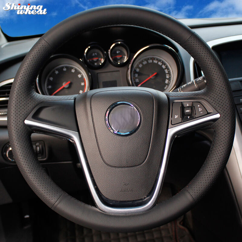 Shining wheat Hand-stitched Black Leather Car Steering Wheel Cover - Car Interior Accessories