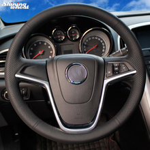 цена на Hand-stitched Black Leather Car Steering Wheel Cover for Buick Excelle XT GT Encore Opel Mokka