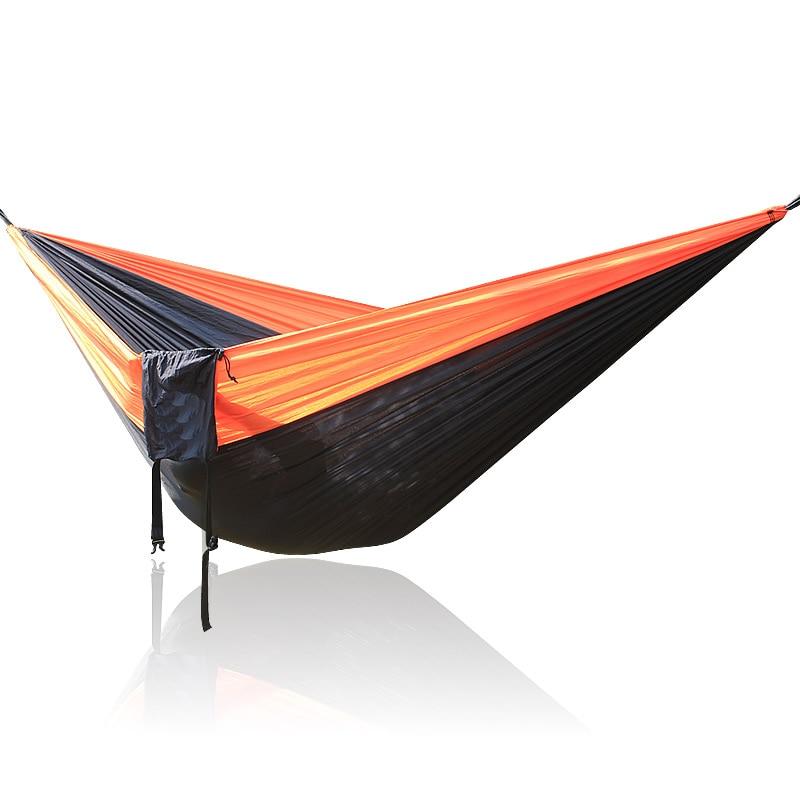 Outdoor Furniture Orange Black Orange 300*200cm Big Size Double Person Nylon Parachute Hammock Hamac