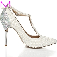 2015 T Strap Ivory Wedding Shoes With Rhinestone Pointed Toe Stiletto Heels Nightclub Club Shoes Wedding