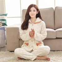 Winter Mink cashmere pajamas women Plus velvet Thickening Cute girl Cartoon Cardigan Cotton Flannel Set Home clothing