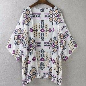 Сексуальная женская шифоновая свободная шаль с цветочным рисунком, кимоно, кардиган, пальто в стиле бохо, куртка, блузка, Пляжная накидка, блузка s
