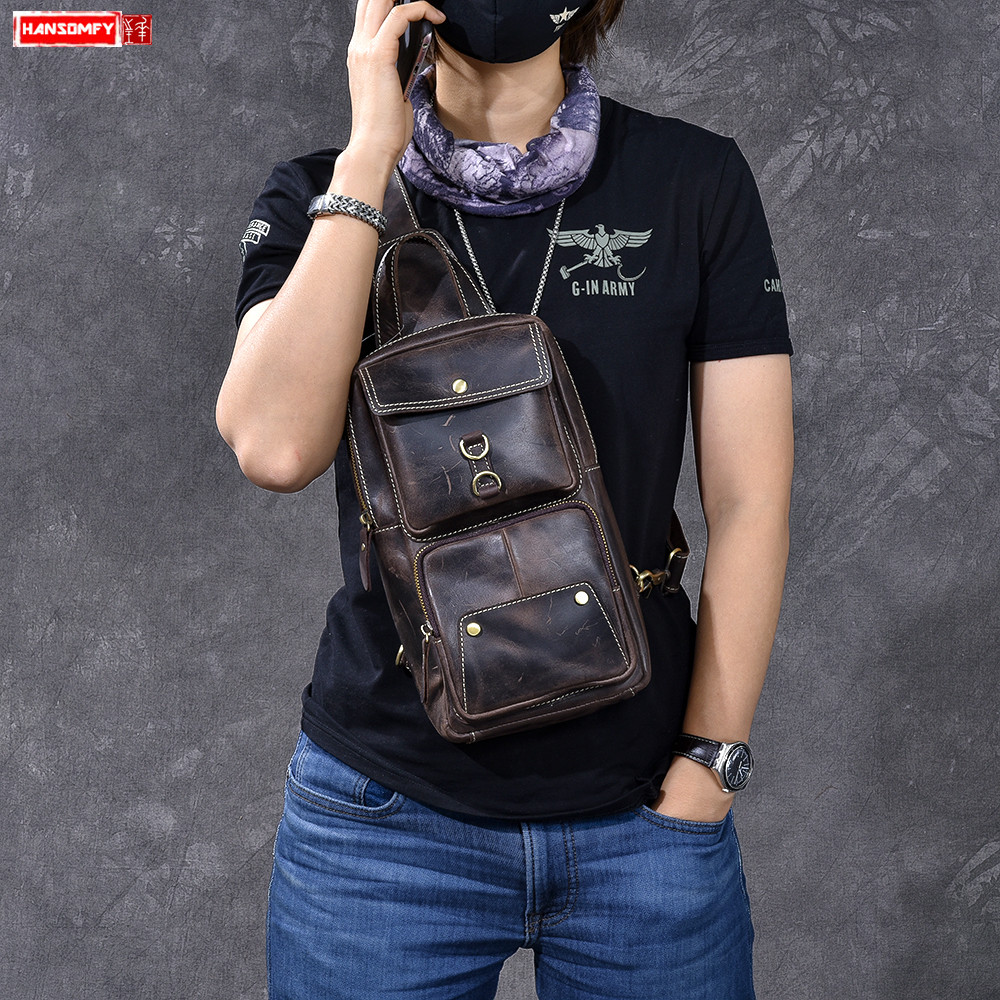 Crazy Horse Leather Mens Big Breast Bag Vintage Handmade First Layer Leather Crossbody messenger male chest bagsCrazy Horse Leather Mens Big Breast Bag Vintage Handmade First Layer Leather Crossbody messenger male chest bags
