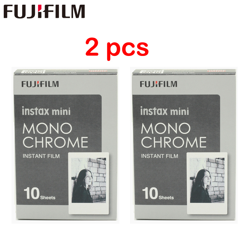 2pcs New Fujifilm Fuji Instax Mini 8 Film Monochrome 10pcs Mini 8 7s 7 50s 50i 90 25 dw Share SP-1 Instant Photo camera