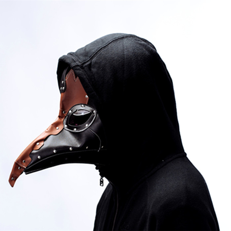 plague doctor mask Beak Doctor Mask Long Nose Cosplay Fancy Mask rivet Gothic Retro Rock Leather