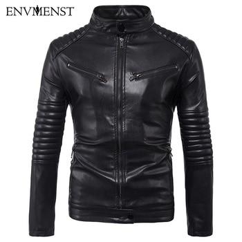 Envmenst Autumn New Men Multi-pocket Leather Jackets Striped Shoulder Sleeves Pu Leather Coat Men's Leather Jacket