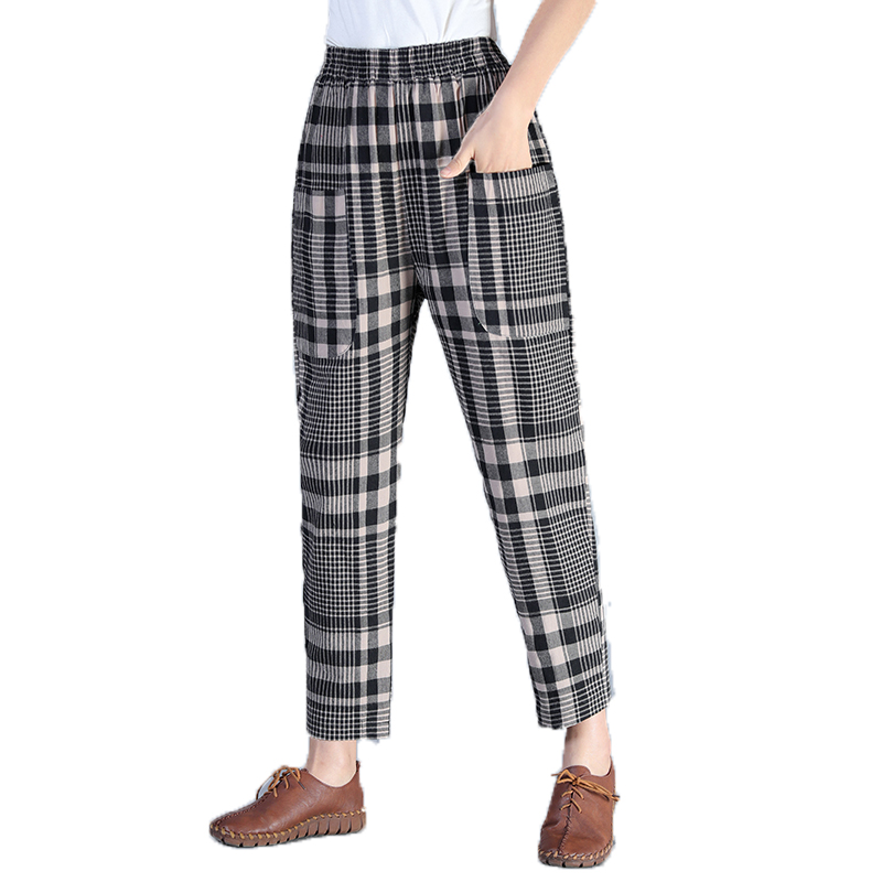Women Casual Harem Pants Black Gray Classical Plaid Loose Trousers Female High Elastic Band Waist Check Pattern Pant Woman Wear Price $35.00