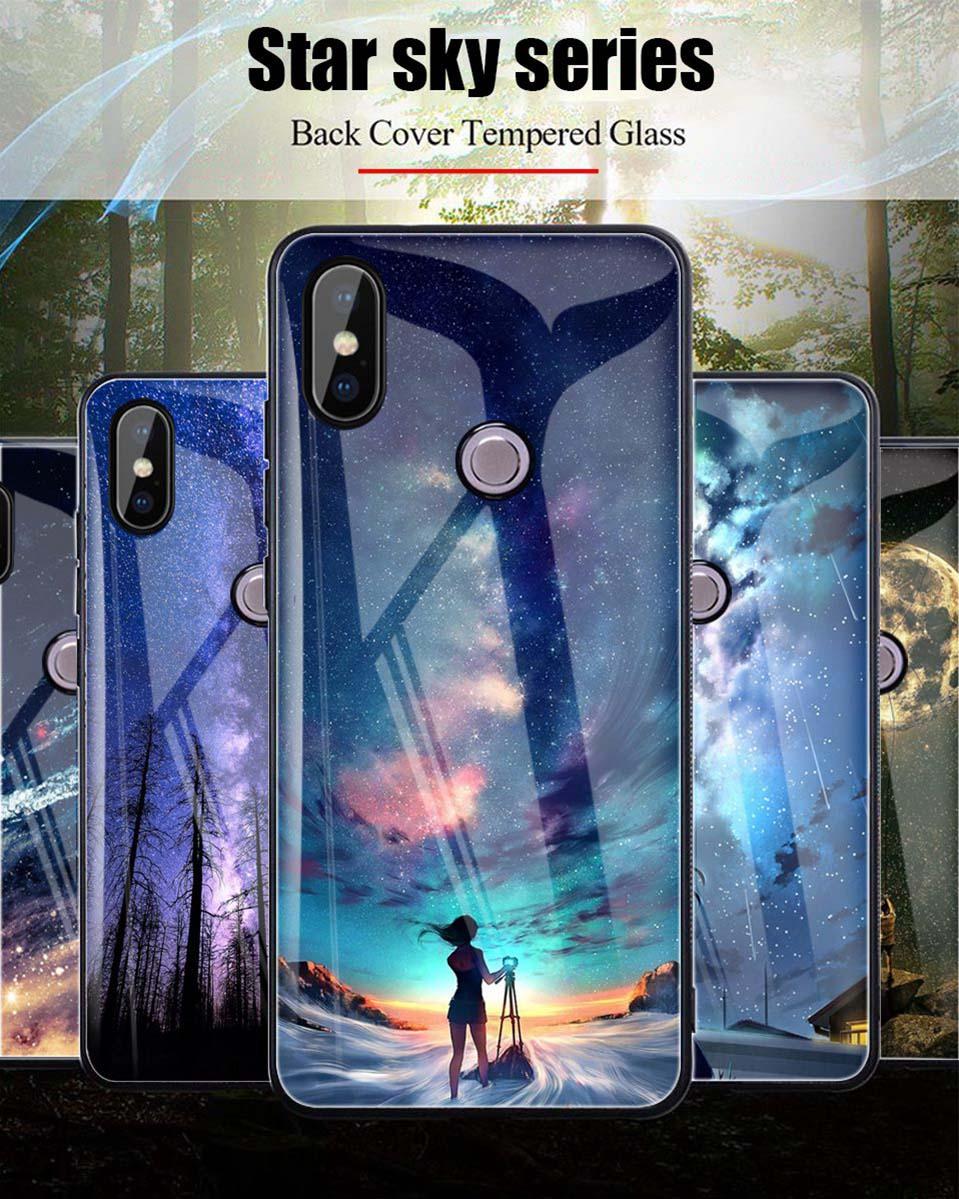 Tempered Glass Case For Xiaomi Redmi 6A Note 5 6 Pro Global 5 Plus 4X Cover Pattern Xiomi Phone Case for Xiaomi Mi A2 Lite A1 5X