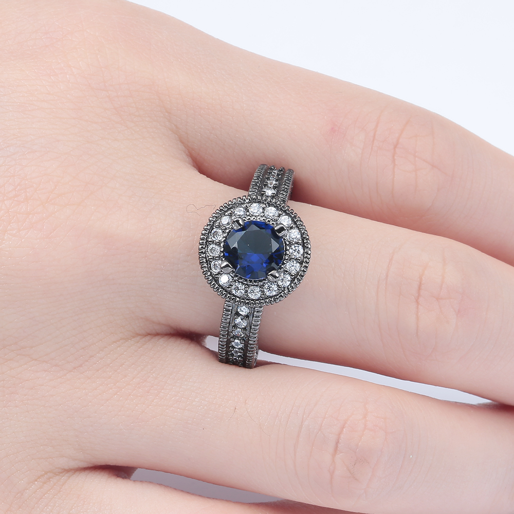 round circle royal blue vintage black gun promise Rings trendy ...