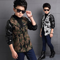 2016 Toddler Korean Boys New Winter Style Long Sleeve Cotton Grey/Green Thickening Keep Warm Single Breasted Coats for Outwear