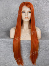 Heat Resistant Extra Long 30 Inch Wig Copper Red Drag Queen Wigs Synthetic Lace Front Wig