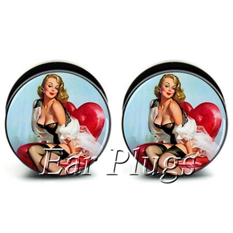 1 pair retro pin up girl ear plug gauges tunnel acrylic screw flesh tunnel body piercing jewelry PAP0236