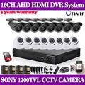 Inicio de seguridad cctv 16ch dvr cámara de vídeo 16 unids sony 1200tvl exterior impermeable 3.6mm cámara de vigilancia kit 16 canal